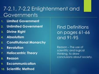 7-2.1, 7-2.2 Enlightenment and Governments