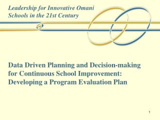 Leadership for Innovative Omani  Schools in the 21st Century