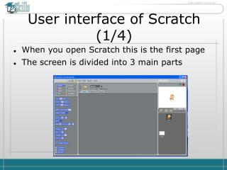 User interface of Scratch  ( 1 / 4 )