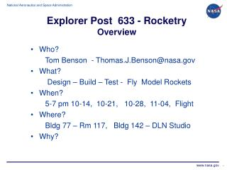Explorer Post  633 - Rocketry Overview