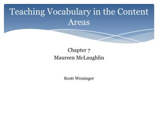 Teaching Vocabulary in the Content Areas