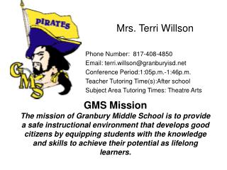 Mrs. Terri Willson Phone Number:  817-408-4850 Email: terri.willson@granburyisd