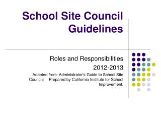 School Site Council Guidelines