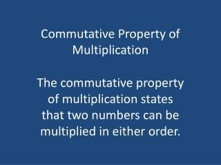 Commutative Property of Multiplication