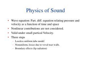 Physics of Sound