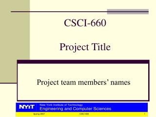 CSCI-660 Project Title