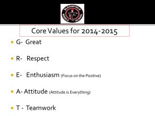 G-  Great R-   Respect E-   Enthusiasm  (Focus on the Positive)