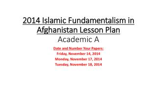 2014 Islamic Fundamentalism in Afghanistan Lesson Plan Academic A