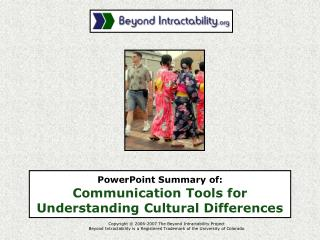 PowerPoint Summary of:  Communication Tools for Understanding Cultural Differences