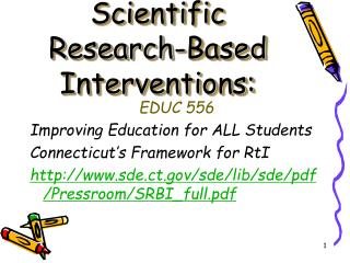 Scientific Research-Based Interventions: