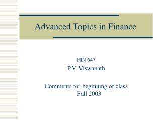 Advanced Topics in Finance
