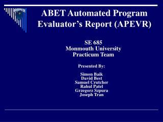 ABET Automated Program Evaluator's Report (APEVR)