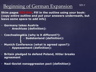Beginning of German Expansion