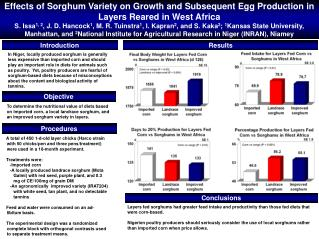 Effects of Sorghum Variety on Growth and Subsequent Egg Production in Layers Reared in West Africa