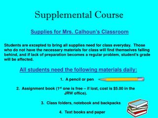 Supplemental Course