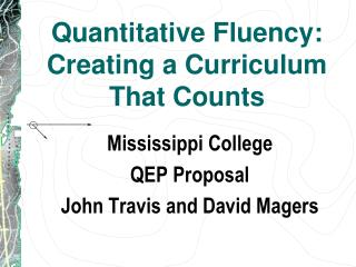 Quantitative Fluency:  Creating a Curriculum That Counts