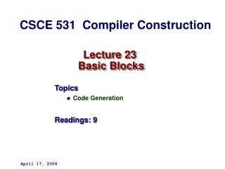 Lecture 23  Basic Blocks