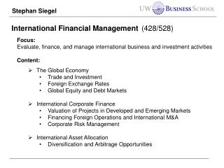 International Financial Management (428/528)