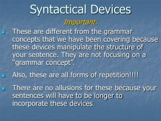 Syntactical Devices
