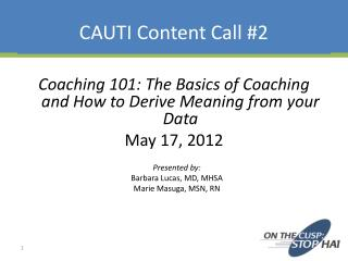 CAUTI Content Call #2