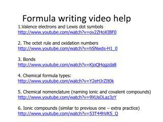 Formula writing video help