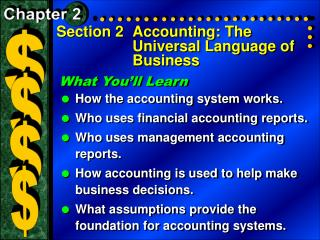 Section 2	Accounting: The Universal Language of Business