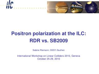 Positron polarization at the ILC: RDR vs. SB2009