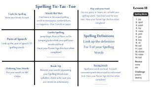 Spelling Tic-Tac -Toe