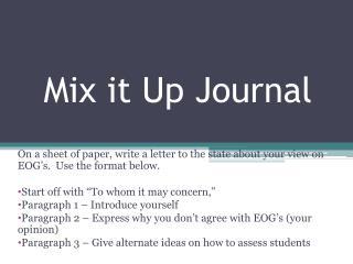 Mix it Up Journal