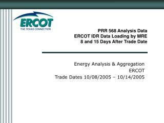 PRR 568 Analysis Data ERCOT IDR Data Loading by MRE  8 and 15 Days After Trade Date