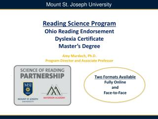 Reading Science Program  Ohio Reading Endorsement  Dyslexia Certificate Master's  Degree