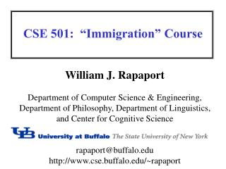 "CSE 501:  ""Immigration"" Course"