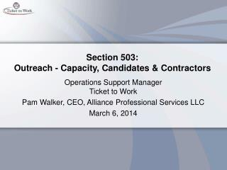 Section 503:  Outreach - Capacity, Candidates & Contractors