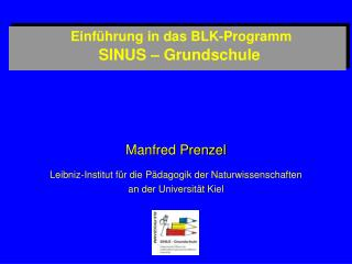 Einf hrung in das BLK-Programm  SINUS   Grundschule