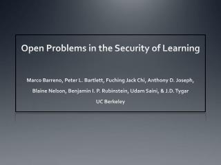 Open Problems in the Security of Learning