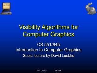 Visibility Algorithms for Computer Graphics
