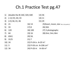 Ch.1 Practice Test pg.47