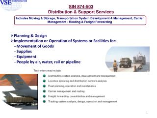 Planning & Design Implementation or Operation of Systems or Facilities for: