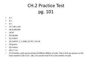 CH.2 Practice Test pg. 101