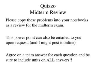 Quizzo Midterm Review