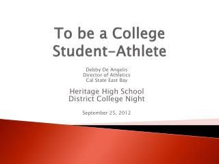To be a College Student-Athlete