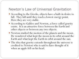 Newton�s Law of Universal Gravitation