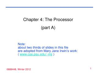 Chapter 4: The Processor (part A)
