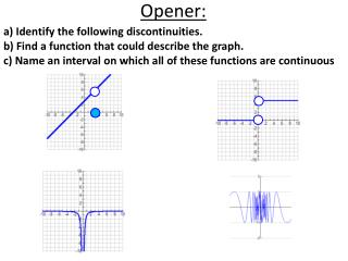 a) Identify the following discontinuities.  b) Find a function that could describe the graph.