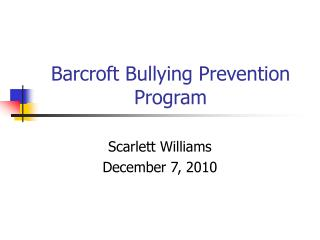 Barcroft Bullying Prevention Program