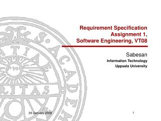 Requirement Specification Assignment 1, Software Engineering, VT08
