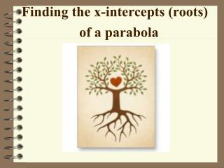 Finding the x-intercepts (roots) of a parabola