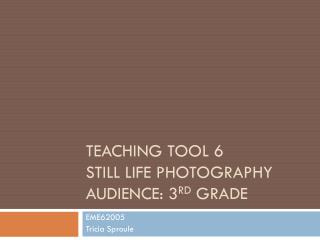 Teaching tool 6 still life photography Audience: 3 rd  Grade