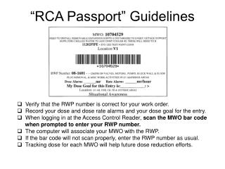 """RCA Passport"" Guidelines"