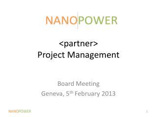 <partner> Project Management